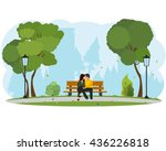 young beautiful couple sitting... | Shutterstock .eps vector #436226818
