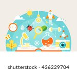 open book with science and... | Shutterstock .eps vector #436229704
