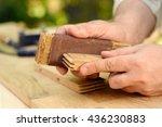 carpenter hands at work with... | Shutterstock . vector #436230883