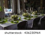 white roses with greenery stand ... | Shutterstock . vector #436230964