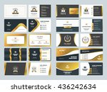 set of creative golden business ... | Shutterstock .eps vector #436242634