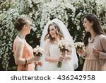 bride and bridesmaid laughing... | Shutterstock . vector #436242958