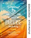 summer beach party flyer or... | Shutterstock .eps vector #436243408