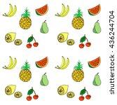 group of fresh fruit doodle.... | Shutterstock .eps vector #436244704
