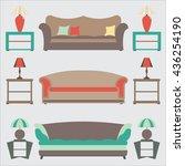 sofas set. flat vector... | Shutterstock .eps vector #436254190