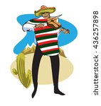 mexican in a sombrero and... | Shutterstock .eps vector #436257898