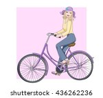 beautiful happy blond girl in... | Shutterstock .eps vector #436262236