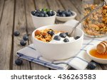 homemade granola with... | Shutterstock . vector #436263583