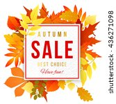 sale banner with bright autumn... | Shutterstock .eps vector #436271098