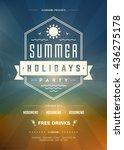 summer beach party holidays... | Shutterstock .eps vector #436275178