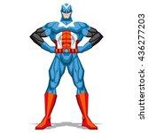vector superhero posing... | Shutterstock .eps vector #436277203
