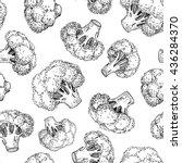 broccoli hand drawn vector... | Shutterstock .eps vector #436284370