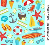 summer travel seamless pattern... | Shutterstock .eps vector #436285528