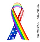 usa and rainbow ribbon   3d... | Shutterstock . vector #436290886