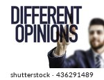 Small photo of Business man pointing the text: Different Opinions