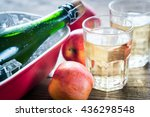 bottle and two glasses of cider ... | Shutterstock . vector #436298548