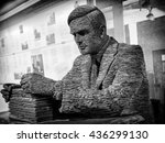 Small photo of London, England - June 21, 2015: Slate statue of Mathematician Alan Turing at Bletchley Park, Bletchley, Milton Keynes, Britain