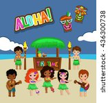 luau party invitation.... | Shutterstock . vector #436300738
