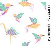 origami birds seamless pattern. ... | Shutterstock .eps vector #436322554