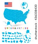 map of usa with it's states and ... | Shutterstock .eps vector #436338430