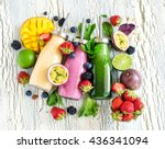 berry and fruit smoothie in... | Shutterstock . vector #436341094