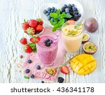 berry smoothie  healthy summer... | Shutterstock . vector #436341178