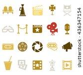 cinema retro movies icons set....   Shutterstock . vector #436347154
