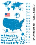 detailed map of usa and world... | Shutterstock .eps vector #436353010
