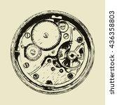 clock mechanism  back side of... | Shutterstock .eps vector #436358803