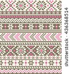 nordic seamless knitted pattern  | Shutterstock .eps vector #436368514