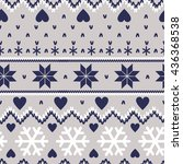 nordic seamless knitted pattern  | Shutterstock .eps vector #436368538