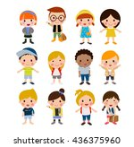 group of student with school... | Shutterstock .eps vector #436375960