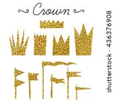 set of vector flags and crowns... | Shutterstock .eps vector #436376908