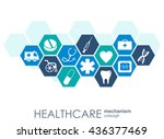 healthcare mechanism concept.... | Shutterstock .eps vector #436377469