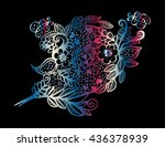 floral  with hand drawn flowers ... | Shutterstock .eps vector #436378939