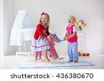 two children play indoors. kids ... | Shutterstock . vector #436380670
