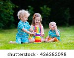 three little children play with ... | Shutterstock . vector #436382098