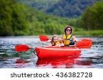 family on kayaks and canoe tour.... | Shutterstock . vector #436382728