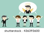 business concept  boss gives... | Shutterstock .eps vector #436393600