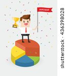 businessman holding trophy and... | Shutterstock .eps vector #436398028