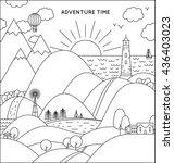 travel flat line illustration.... | Shutterstock .eps vector #436403023