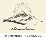 Sketch of a mountains with fir forest, sunrise/sunset in the mountains, engraving style, hand drawn vector illustration