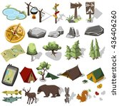 isometric 3d forest hiking... | Shutterstock . vector #436406260