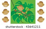 Monkey banana. Vector illustration of a monkey playing in the jungle (with replaceable heads!). Vector illustration of a monkey playing in the jungle (with replaceable heads!). - stock vector