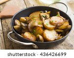 fried potatoes with mushrooms... | Shutterstock . vector #436426699