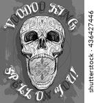 voodoo skull with opened jaw ...   Shutterstock .eps vector #436427446