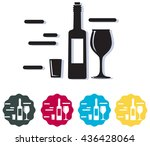 alcohol bottle with glass | Shutterstock .eps vector #436428064