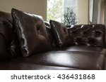 Brown Leather Sofa In Living...