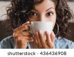 eastern brunette curly girl... | Shutterstock . vector #436436908