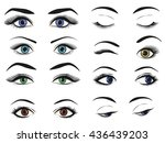 female woman eyes and brows... | Shutterstock .eps vector #436439203